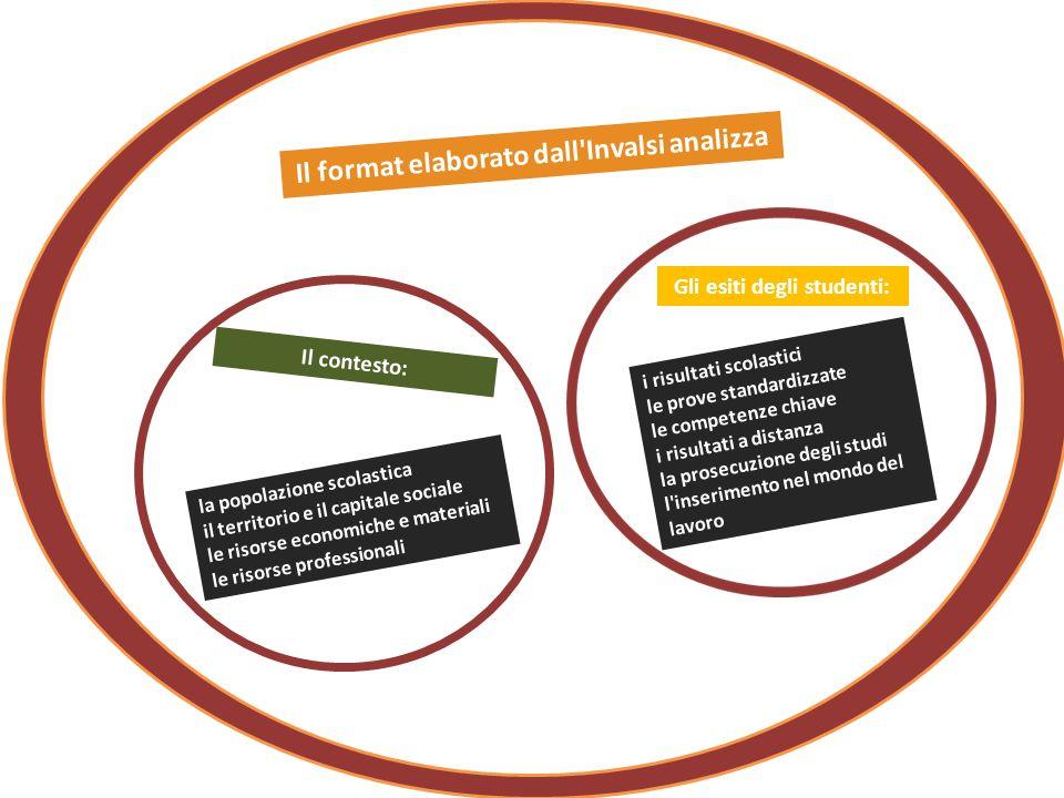 Il format elaborato dall'Invalsi analizza la popolazione scolastica il territorio e il capitale sociale le risorse economiche e materiali le risorse p