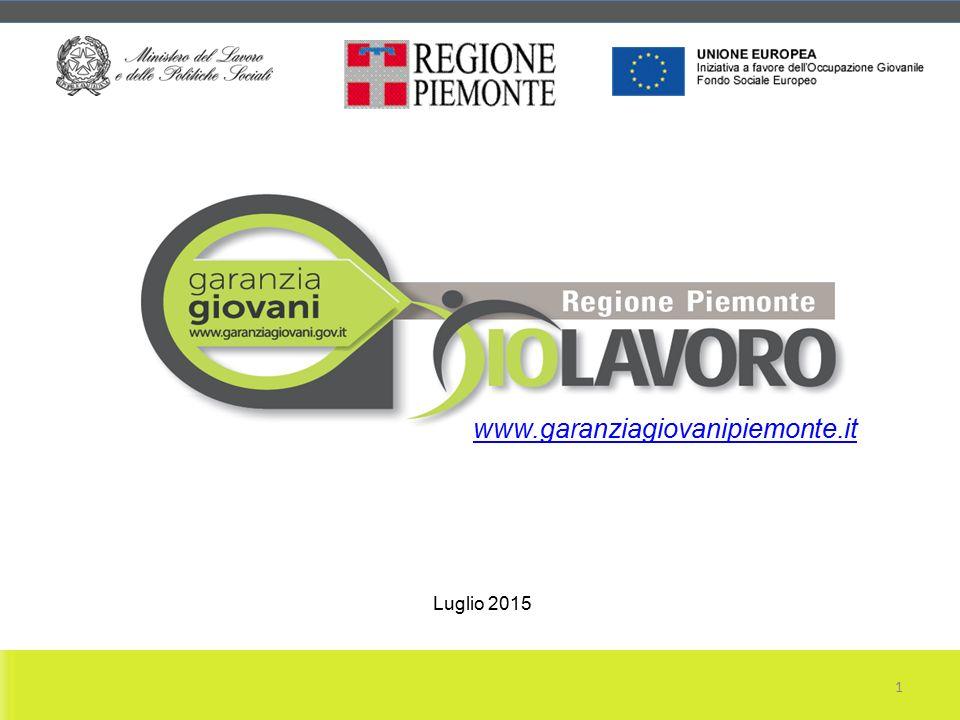 PIEMONTE www.garanziagiovanipiemonte.it 1 Luglio 2015