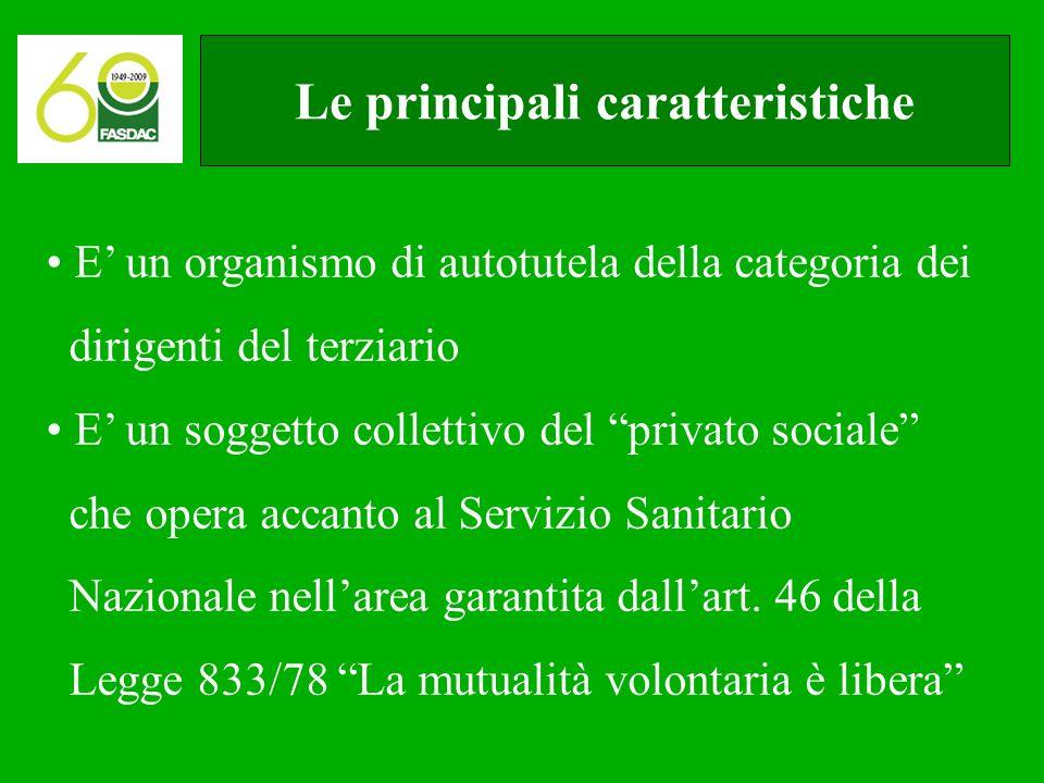 Le principali caratteristiche E' un organismo di autotutela della categoria dei dirigenti del terziario E' un soggetto collettivo del privato sociale che opera accanto al Servizio Sanitario Nazionale nell'area garantita dall'art.