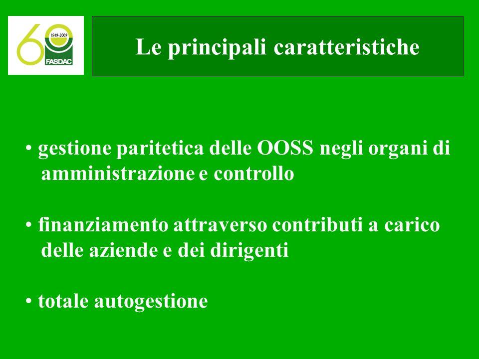 Le principali caratteristiche gestione paritetica delle OOSS negli organi di amministrazione e controllo finanziamento attraverso contributi a carico delle aziende e dei dirigenti totale autogestione