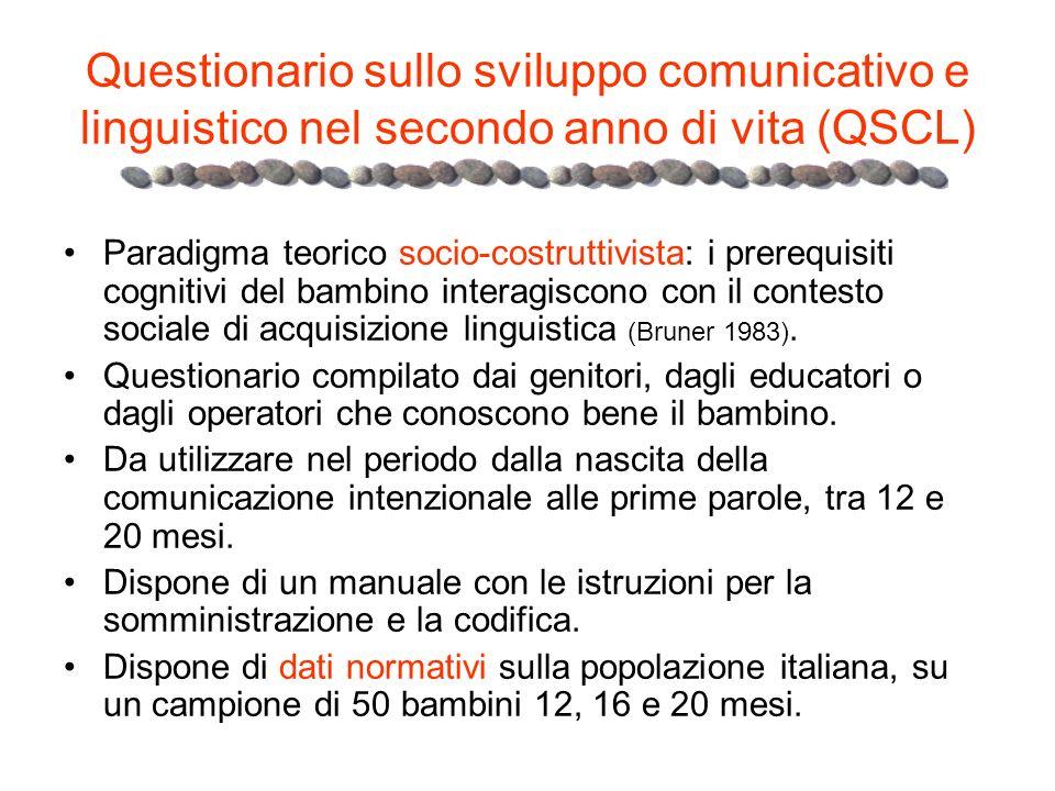 Questionario sullo sviluppo comunicativo e linguistico nel secondo anno di vita (QSCL) Paradigma teorico socio-costruttivista: i prerequisiti cognitiv