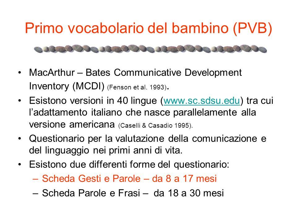 Primo vocabolario del bambino (PVB) MacArthur – Bates Communicative Development Inventory (MCDI) (Fenson et al. 1993). Esistono versioni in 40 lingue