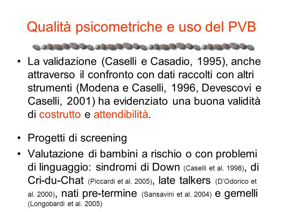 Qualità psicometriche e uso del PVB La validazione (Caselli e Casadio, 1995), anche attraverso il confronto con dati raccolti con altri strumenti (Mod