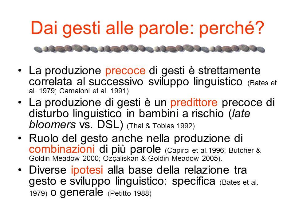 Dai gesti alle parole: perché? La produzione precoce di gesti è strettamente correlata al successivo sviluppo linguistico (Bates et al. 1979; Camaioni