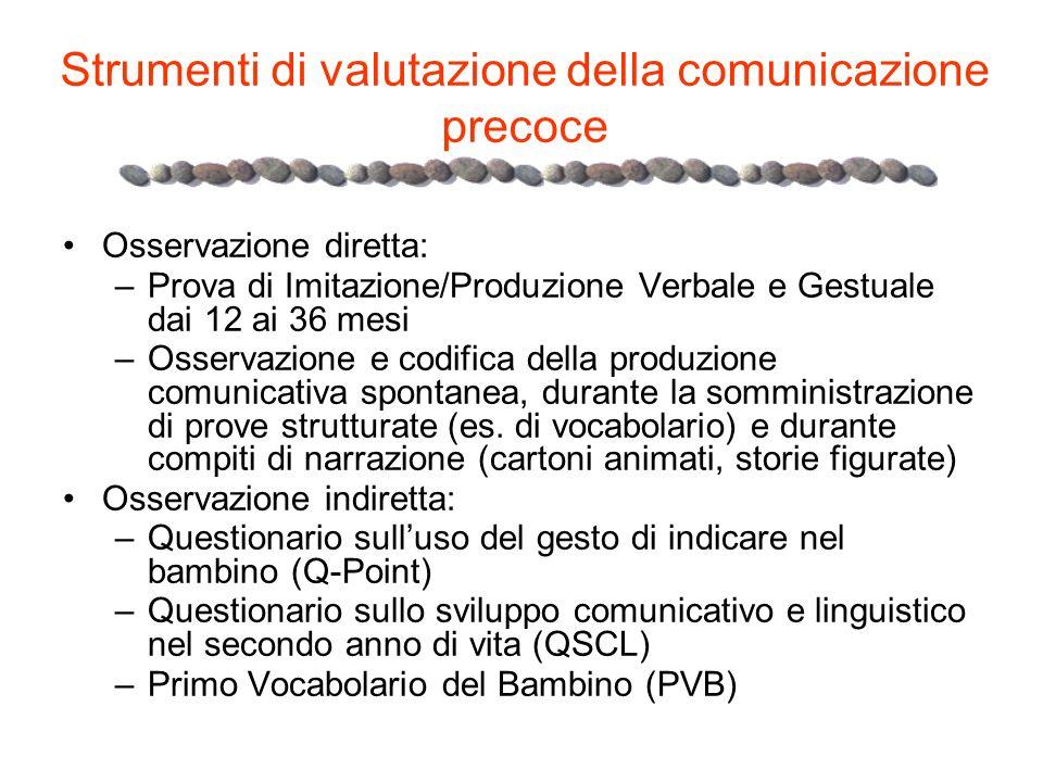 Strumenti di valutazione della comunicazione precoce Osservazione diretta: –Prova di Imitazione/Produzione Verbale e Gestuale dai 12 ai 36 mesi –Osser