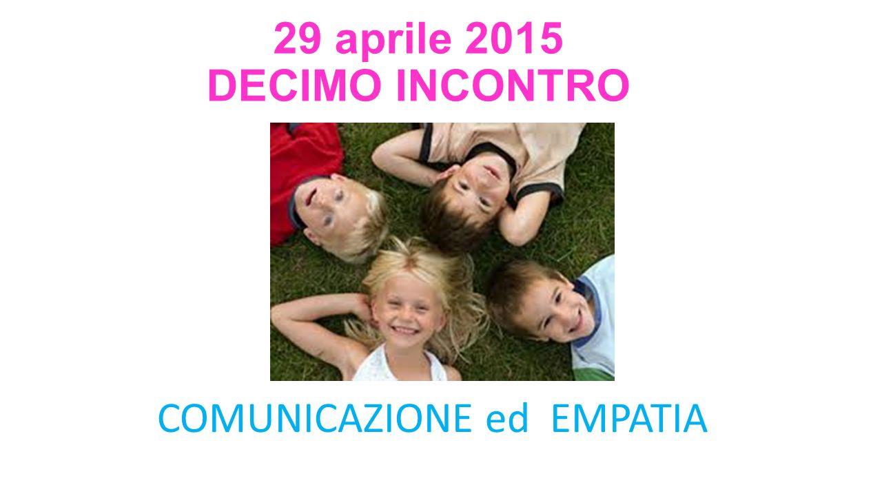 29 aprile 2015 DECIMO INCONTRO COMUNICAZIONE ed EMPATIA