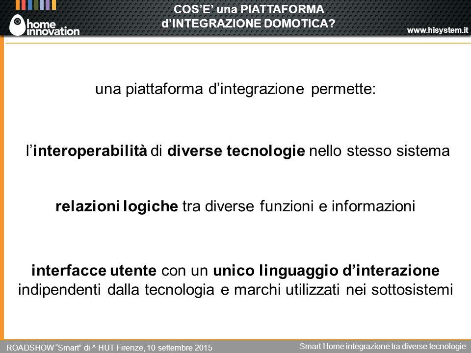 www.hisystem.it COS'E' una PIATTAFORMA d'INTEGRAZIONE DOMOTICA.