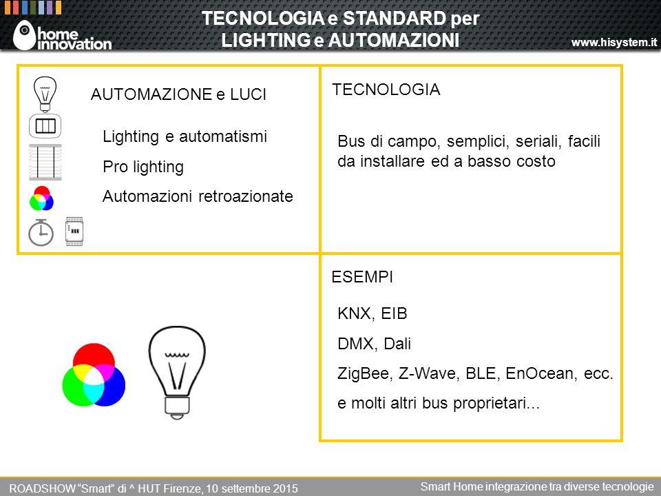 www.hisystem.it TECNOLOGIA e STANDARD per LIGHTING e AUTOMAZIONI Bus di campo, semplici, seriali, facili da installare ed a basso costo TECNOLOGIA KNX, EIB DMX, Dali ZigBee, Z-Wave, BLE, EnOcean, ecc.