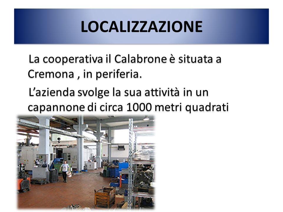 LOCALIZZAZIONE La cooperativa il Calabrone è situata a Cremona, in periferia. L'azienda svolge la sua attività in un capannone di circa 1000 metri qua