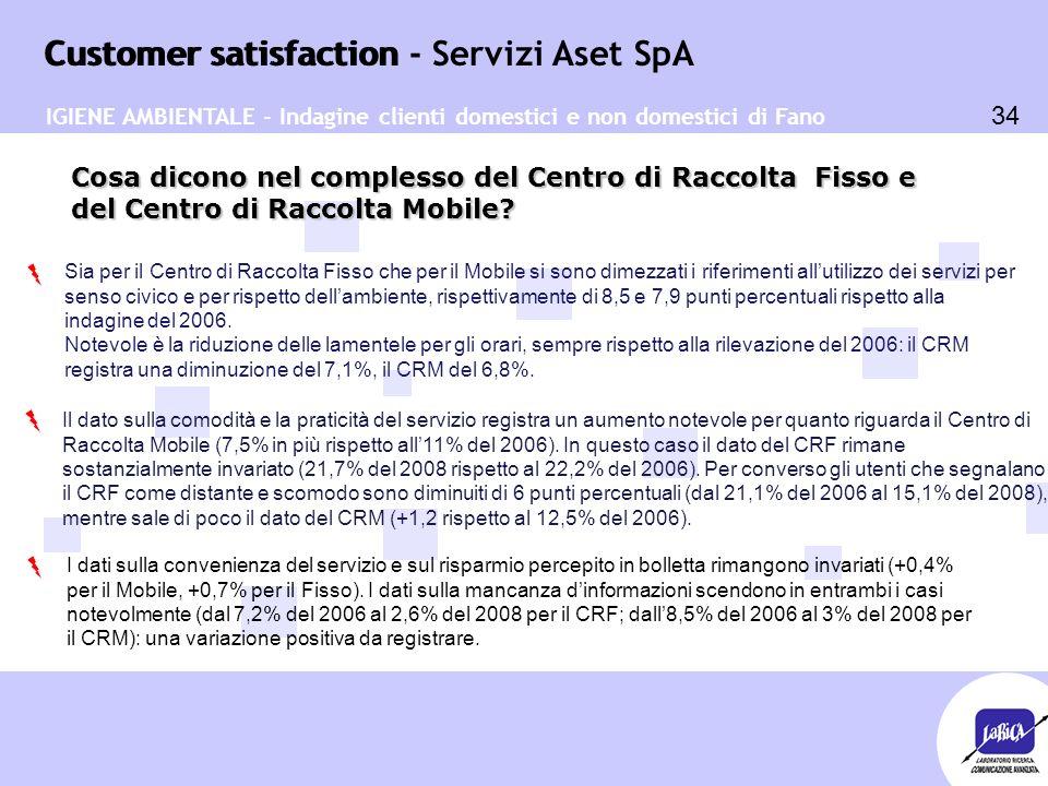 Customer satisfaction 34 Customer satisfaction - Servizi Aset SpA Cosa dicono nel complesso del Centro di Raccolta Fisso e del Centro di Raccolta Mobile.