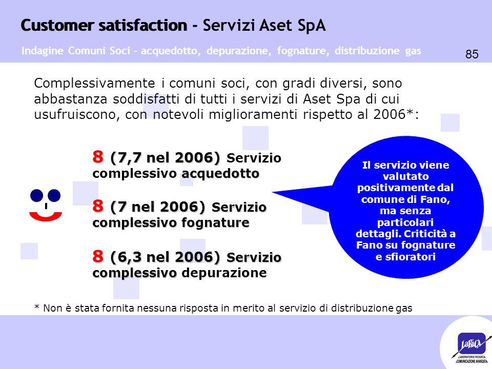 Customer satisfaction 85 Customer satisfaction - Servizi Aset SpA Complessivamente i comuni soci, con gradi diversi, sono abbastanza soddisfatti di tutti i servizi di Aset Spa di cui usufruiscono, con notevoli miglioramenti rispetto al 2006*: * Non è stata fornita nessuna risposta in merito al servizio di distribuzione gas Indagine Comuni Soci – acquedotto, depurazione, fognature, distribuzione gas 8 (7,7 nel 2006) acquedotto 8 (7,7 nel 2006) Servizio complessivo acquedotto 8 (7 nel 2006) Servizio complessivo fognature 8 (6,3 nel 2006) Servizio complessivo 8 (6,3 nel 2006) Servizio complessivo depurazione Il servizio viene valutato positivamente dal comune di Fano, ma senza particolari dettagli.