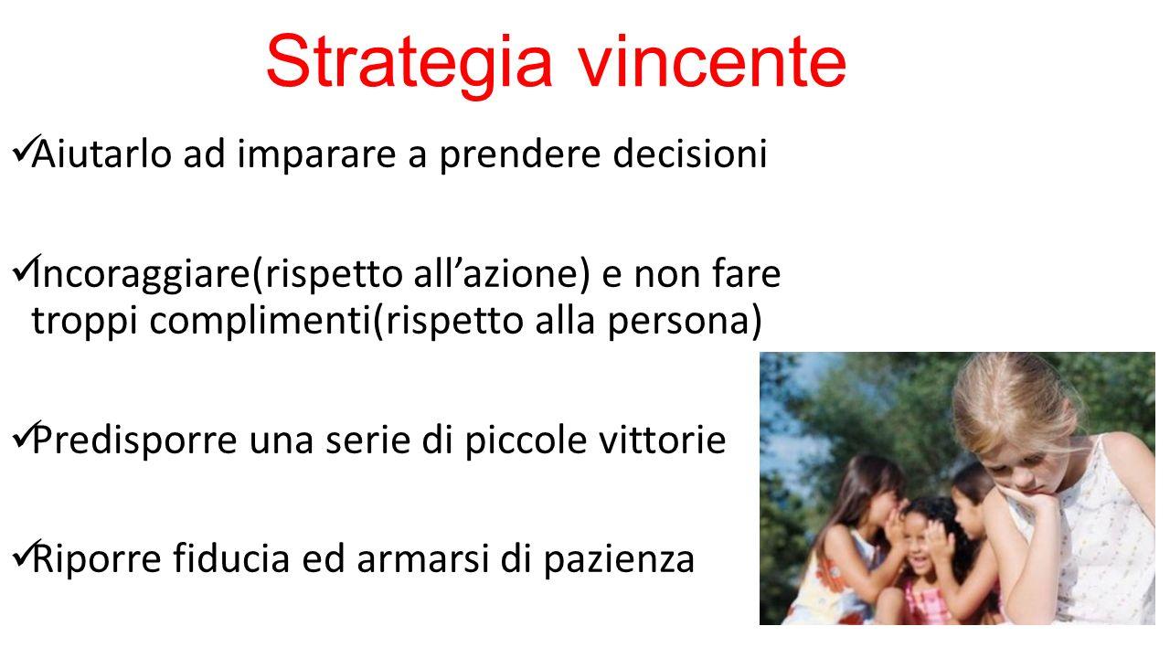 Strategia vincente Aiutarlo ad imparare a prendere decisioni Incoraggiare(rispetto all'azione) e non fare troppi complimenti(rispetto alla persona) Pr