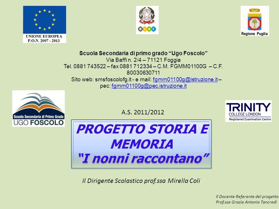 """Scuola Secondaria di primo grado """"Ugo Foscolo"""" Via Baffi n. 2/4 – 71121 Foggia Tel. 0881 743522 – fax 0881 712334 – C.M. FGMM01100G – C.F. 80030630711"""