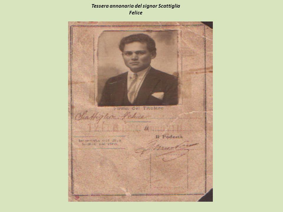 Tessera annonaria del signor Scattiglia Felice