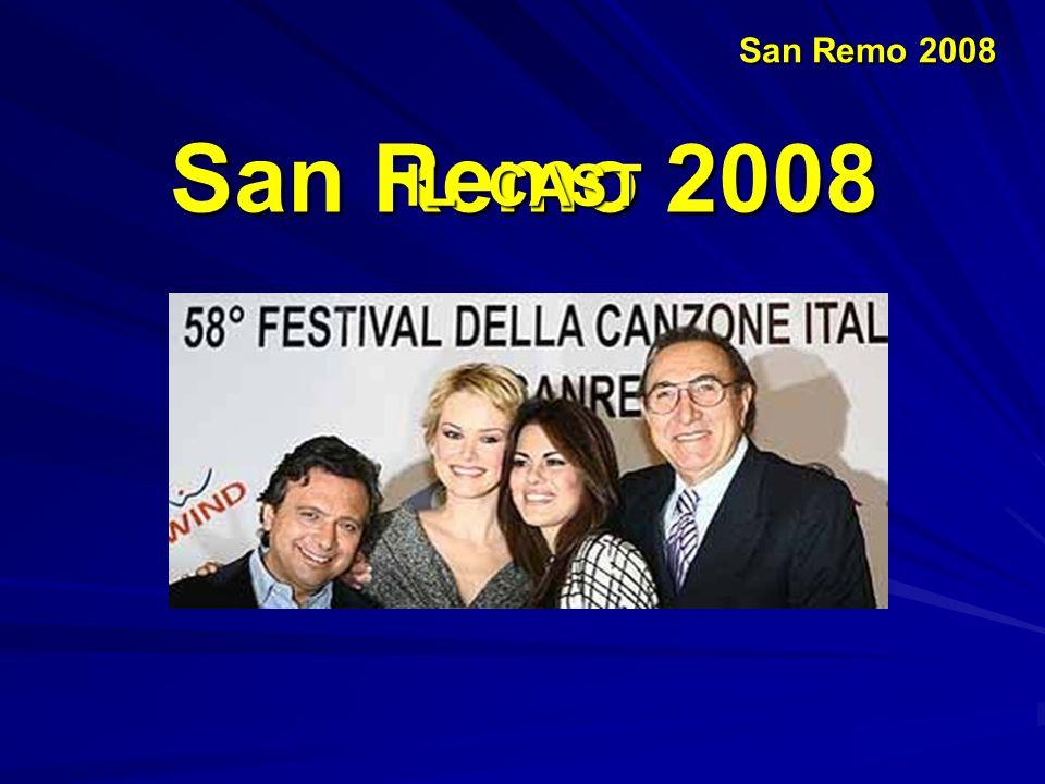 San Remo 2008 Il Festival comincia con la partecipazione di una nuova giovane promessa della canzone italiana Gianni Morandi