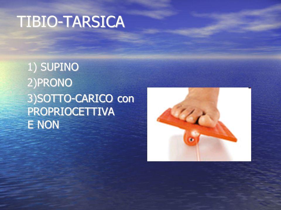 TIBIO-TARSICA 1) SUPINO 1) SUPINO 2)PRONO 2)PRONO 3)SOTTO-CARICO con PROPRIOCETTIVA E NON 3)SOTTO-CARICO con PROPRIOCETTIVA E NON
