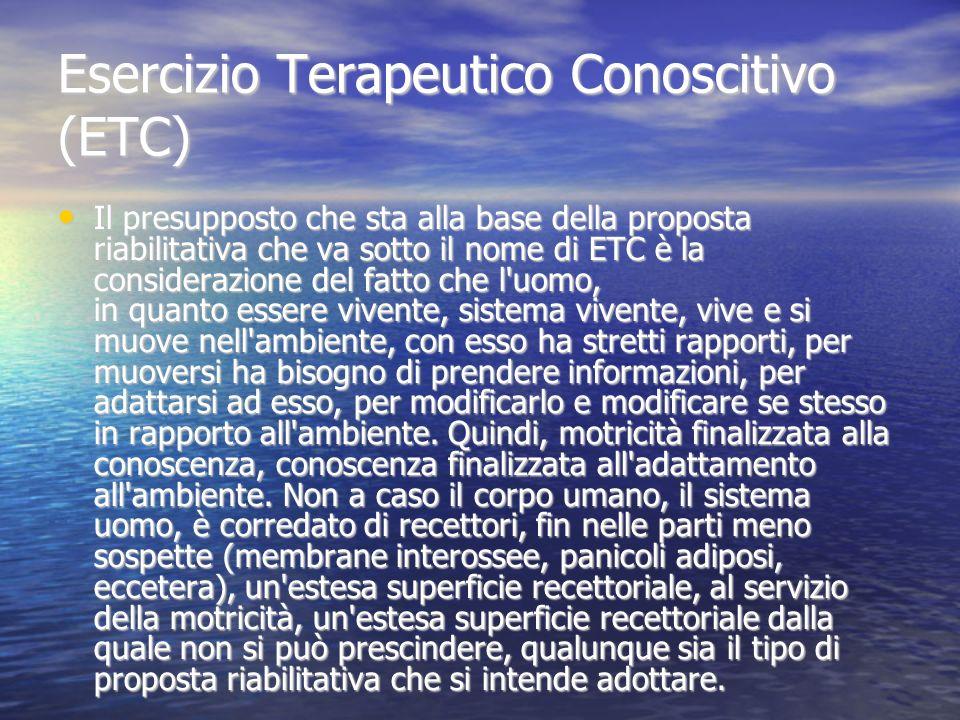 Esercizio Terapeutico Conoscitivo (ETC) Il presupposto che sta alla base della proposta riabilitativa che va sotto il nome di ETC è la considerazione