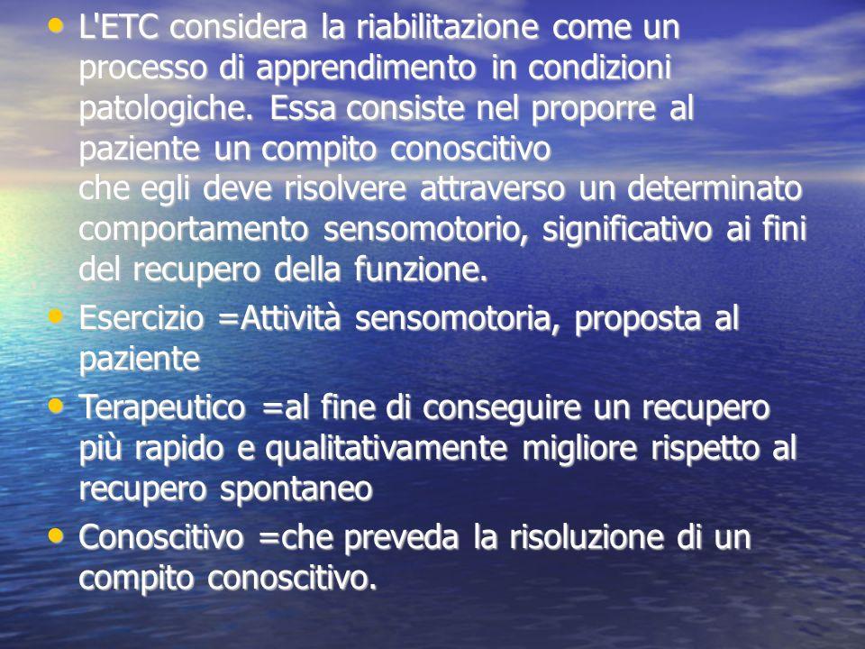 L'ETC considera la riabilitazione come un processo di apprendimento in condizioni patologiche. Essa consiste nel proporre al paziente un compito conos