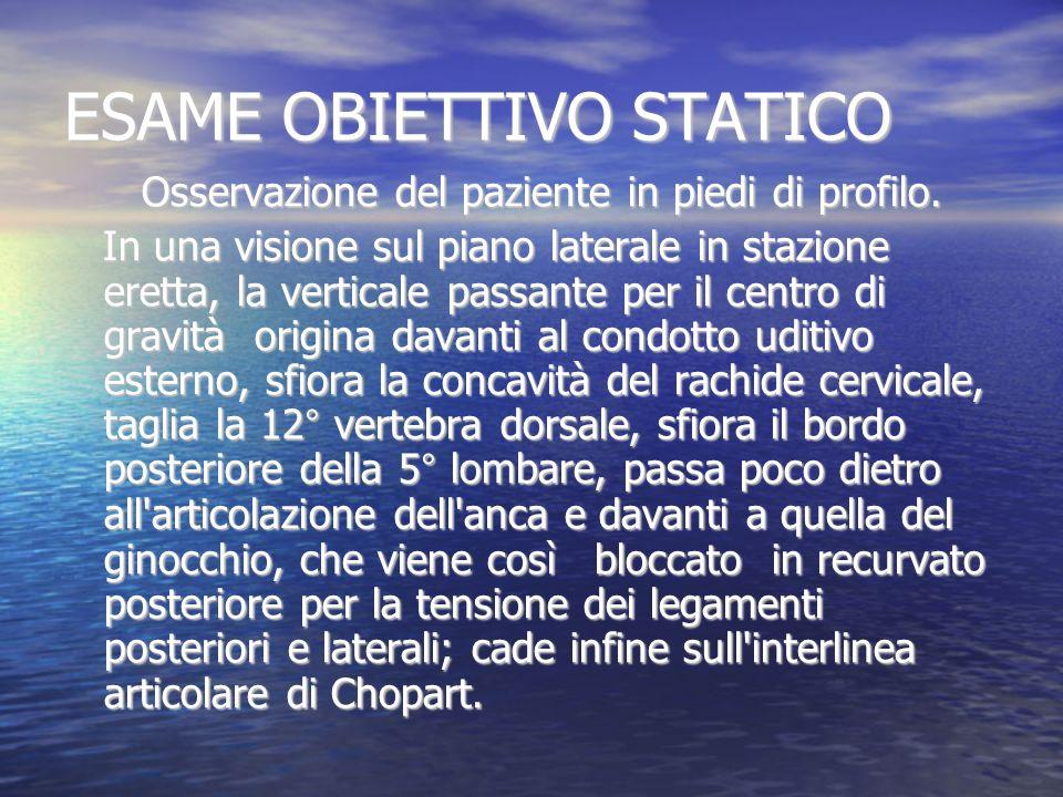 ESAME OBIETTIVO STATICO Osservazione del paziente in piedi di profilo. Osservazione del paziente in piedi di profilo. In una visione sul piano lateral