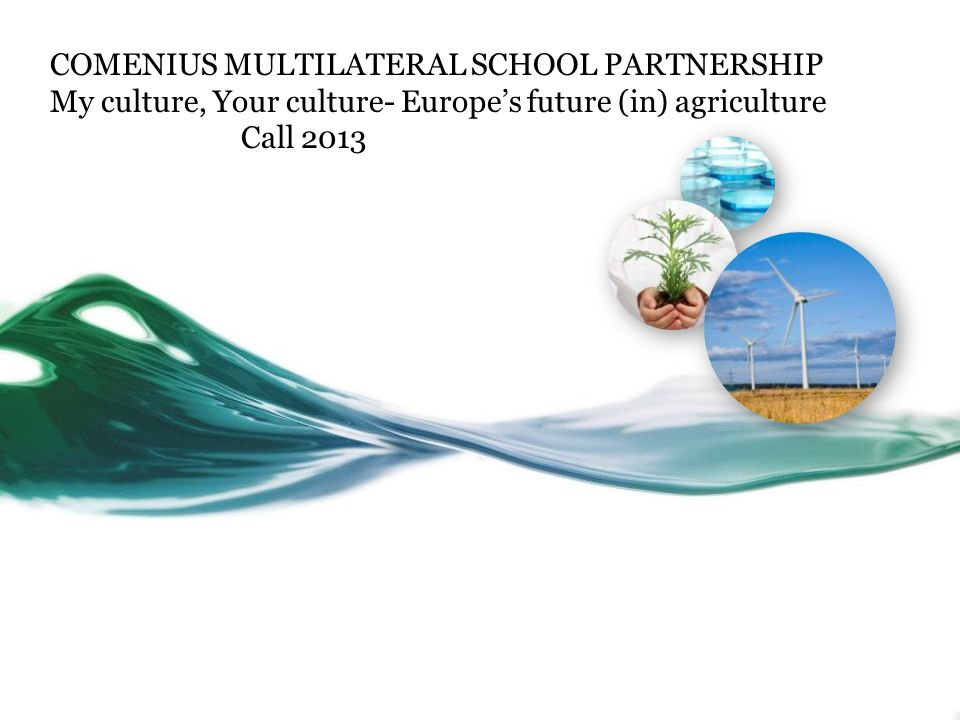 COMENIUS MULTILATERAL SCHOOL PARTNERSHIP My culture, Your culture- Europe's future (in) agriculture Call 2013