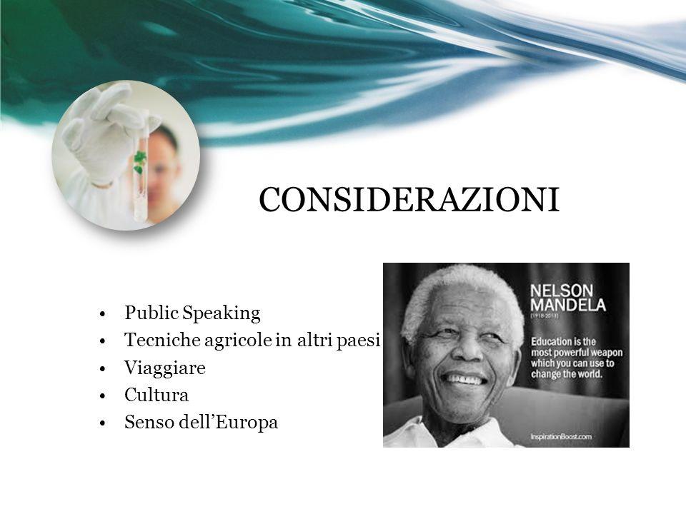 CONSIDERAZIONI Public Speaking Tecniche agricole in altri paesi Viaggiare Cultura Senso dell'Europa