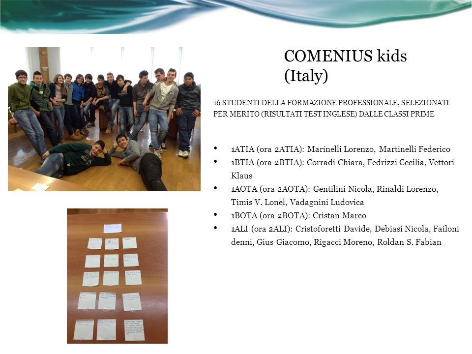 COMENIUS kids (Italy) 16 STUDENTI DELLA FORMAZIONE PROFESSIONALE, SELEZIONATI PER MERITO (RISULTATI TEST INGLESE) DALLE CLASSI PRIME 1ATIA (ora 2ATIA): Marinelli Lorenzo, Martinelli Federico 1BTIA (ora 2BTIA): Corradi Chiara, Fedrizzi Cecilia, Vettori Klaus 1AOTA (ora 2AOTA): Gentilini Nicola, Rinaldi Lorenzo, Timis V.