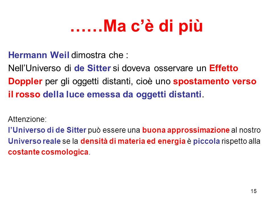 ……Ma c'è di più Hermann Weil dimostra che : Nell'Universo di de Sitter si doveva osservare un Effetto Doppler per gli oggetti distanti, cioè uno spost