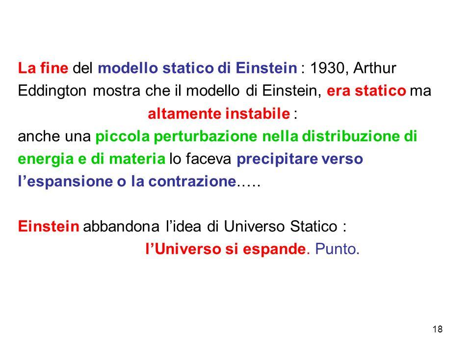 La fine del modello statico di Einstein : 1930, Arthur Eddington mostra che il modello di Einstein, era statico ma altamente instabile : anche una piccola perturbazione nella distribuzione di energia e di materia lo faceva precipitare verso l'espansione o la contrazione.….