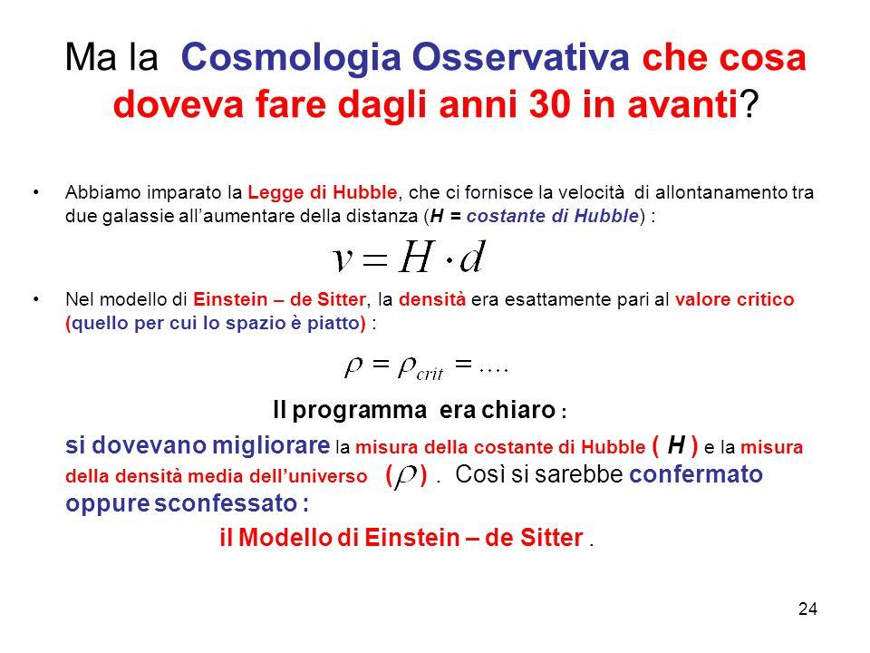 Ma la Cosmologia Osservativa che cosa doveva fare dagli anni 30 in avanti? Abbiamo imparato la Legge di Hubble, che ci fornisce la velocità di allonta
