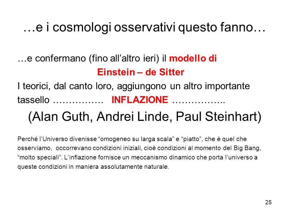 …e i cosmologi osservativi questo fanno… …e confermano (fino all'altro ieri) il modello di Einstein – de Sitter I teorici, dal canto loro, aggiungono un altro importante tassello …………….