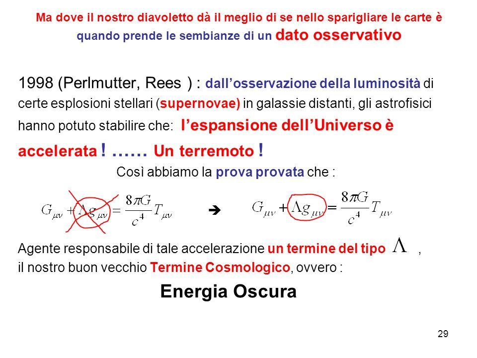 Ma dove il nostro diavoletto dà il meglio di se nello sparigliare le carte è quando prende le sembianze di un dato osservativo 1998 (Perlmutter, Rees ) : dall'osservazione della luminosità di certe esplosioni stellari (supernovae) in galassie distanti, gli astrofisici hanno potuto stabilire che: l'espansione dell'Universo è accelerata .