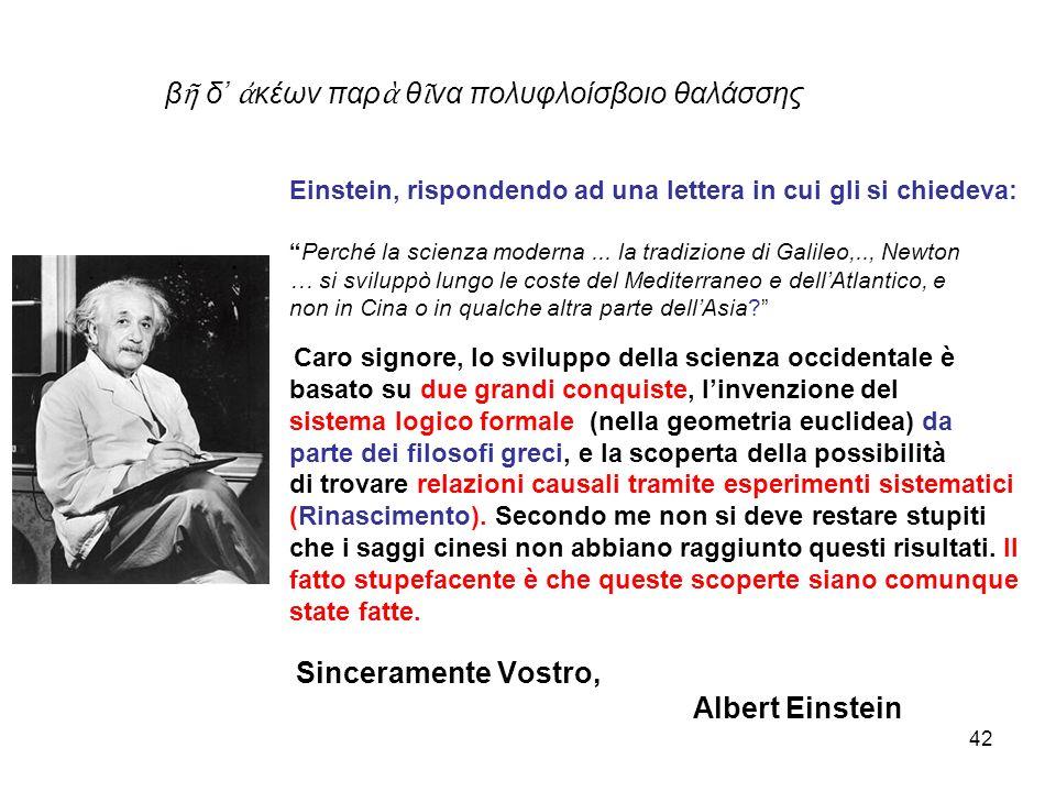 β ῆ δ' ἀ κέων παρ ὰ θ ῖ να πολυφλοίσβοιο θαλάσσης Einstein, rispondendo ad una lettera in cui gli si chiedeva: Perché la scienza moderna...