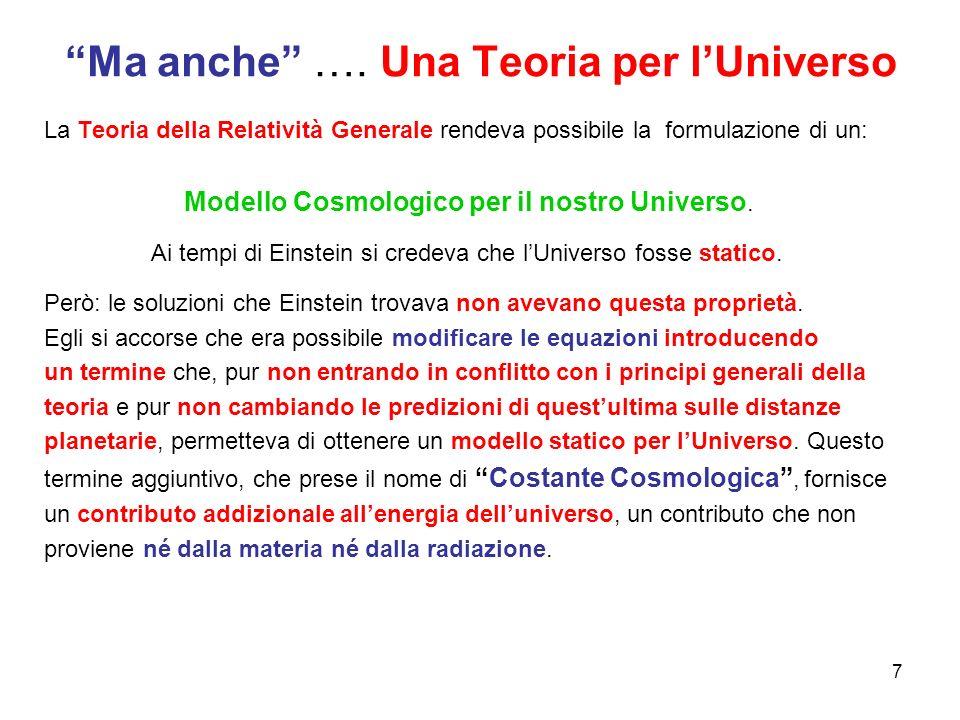 """""""Ma anche"""" …. Una Teoria per l'Universo La Teoria della Relatività Generale rendeva possibile la formulazione di un: Modello Cosmologico per il nostro"""