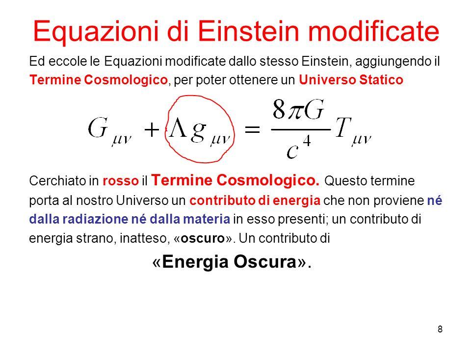 Equazioni di Einstein modificate Ed eccole le Equazioni modificate dallo stesso Einstein, aggiungendo il Termine Cosmologico, per poter ottenere un Universo Statico Cerchiato in rosso il Termine Cosmologico.