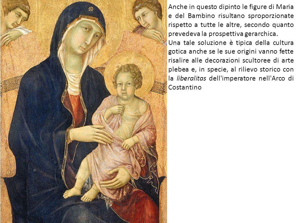 Anche in questo dipinto le figure di Maria e del Bambino risultano sproporzionate rispetto a tutte le altre, secondo quanto prevedeva la prospettiva gerarchica.