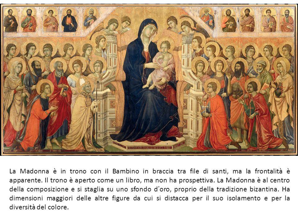 La Madonna è in trono con il Bambino in braccia tra file di santi, ma la frontalità è apparente.