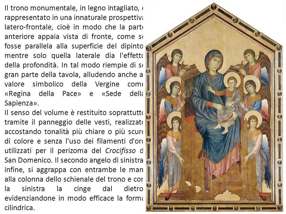La figura centrale della Madonna, maestosa e solennemente solitaria tra le schiere di angeli e santi, non ha alcuna consistenza spaziale propria e anche i personaggi di contorno vengono disposti secondo una logica squisitamente decorativa.