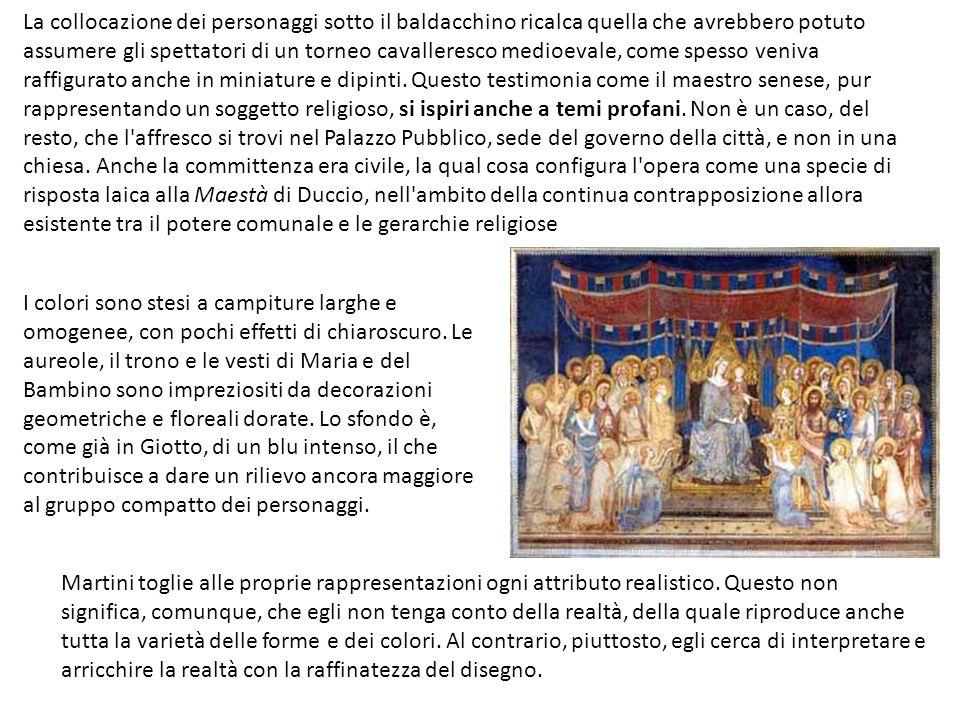 La collocazione dei personaggi sotto il baldacchino ricalca quella che avrebbero potuto assumere gli spettatori di un torneo cavalleresco medioevale, come spesso veniva raffigurato anche in miniature e dipinti.