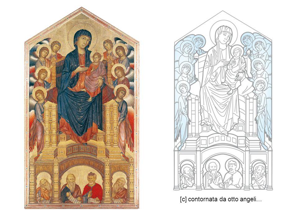 I sei angeli inginocchiati ai lati del trono sono disposti in modo speculare uno di fronte all altro, quasi sospesi nell oro dello sfondo.