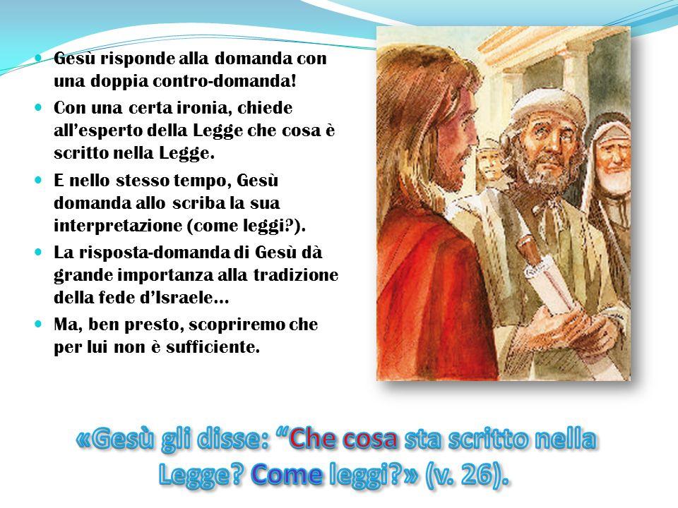 Gesù risponde alla domanda con una doppia contro-domanda.