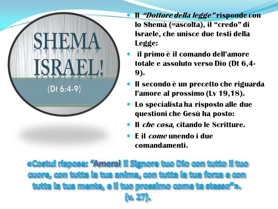 Il Dottore della legge risponde con lo Shemà (=ascolta), il credo di Israele, che unisce due testi della Legge: il primo è il comando dell'amore totale e assoluto verso Dio (Dt 6,4- 9).