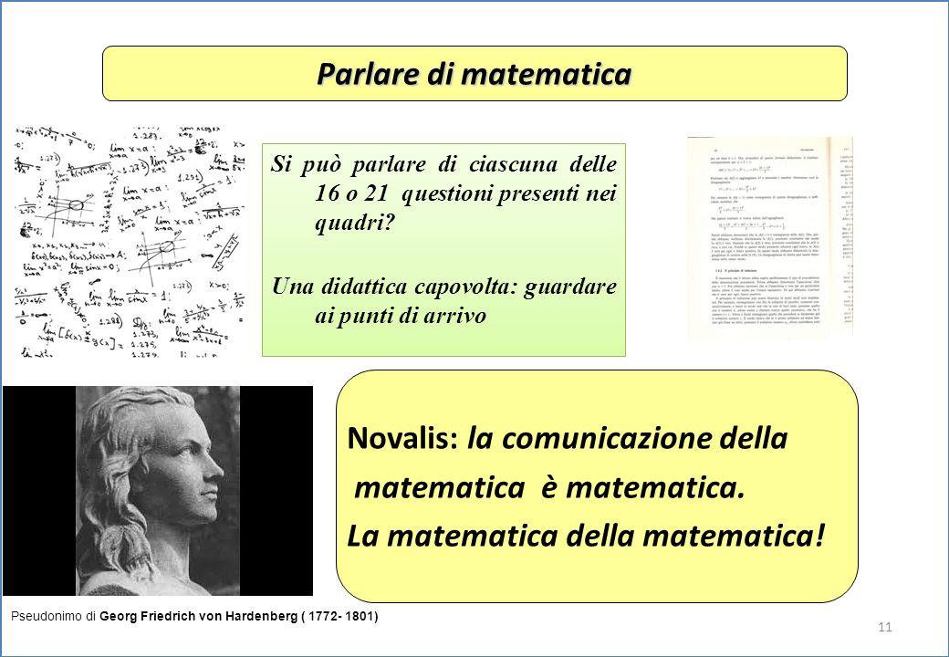 11 Parlare di matematica Novalis: la comunicazione della matematica è matematica.
