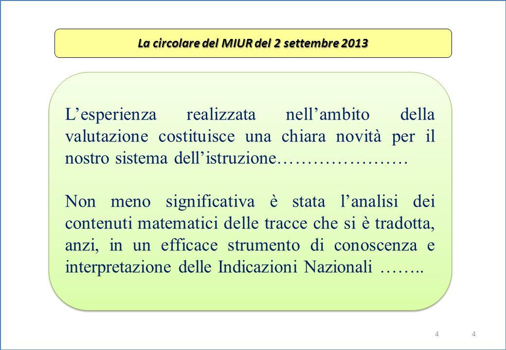 4 4 La circolare del MIUR del 2 settembre 2013 L'esperienza realizzata nell'ambito della valutazione costituisce una chiara novità per il nostro sistema dell'istruzione………………….