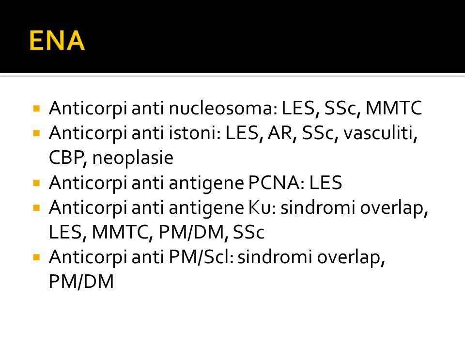  Anticorpi anti nucleosoma: LES, SSc, MMTC  Anticorpi anti istoni: LES, AR, SSc, vasculiti, CBP, neoplasie  Anticorpi anti antigene PCNA: LES  Ant
