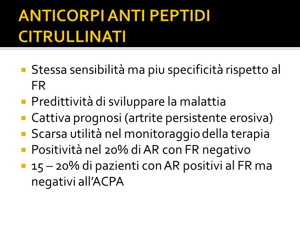  Stessa sensibilità ma piu specificità rispetto al FR  Predittività di sviluppare la malattia  Cattiva prognosi (artrite persistente erosiva)  Sca