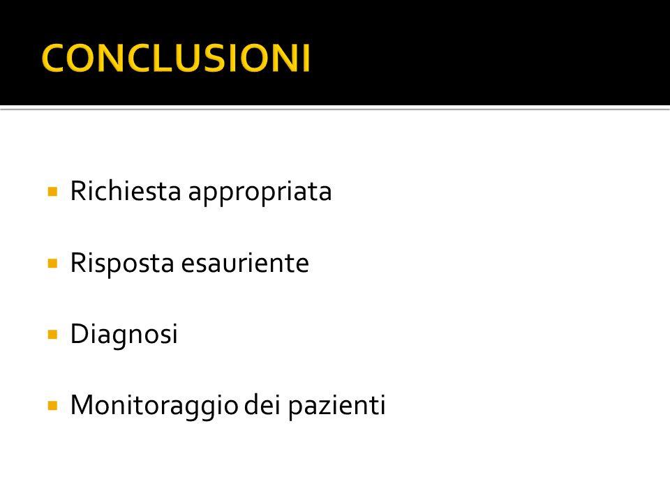  Richiesta appropriata  Risposta esauriente  Diagnosi  Monitoraggio dei pazienti