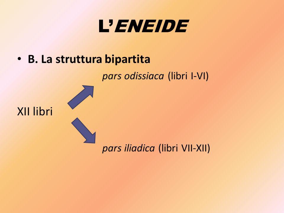 L'ENEIDE B. La struttura bipartita pars odissiaca (libri I-VI) XII libri pars iliadica (libri VII-XII)