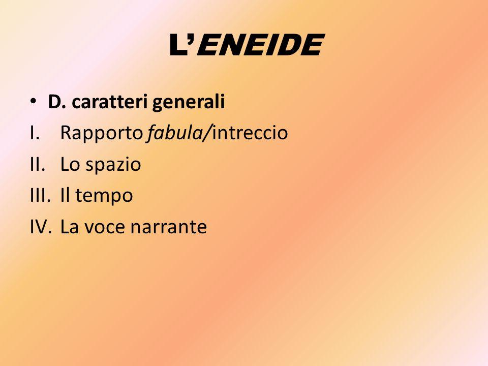 L'ENEIDE D. caratteri generali I.Rapporto fabula/intreccio II.Lo spazio III.Il tempo IV.La voce narrante