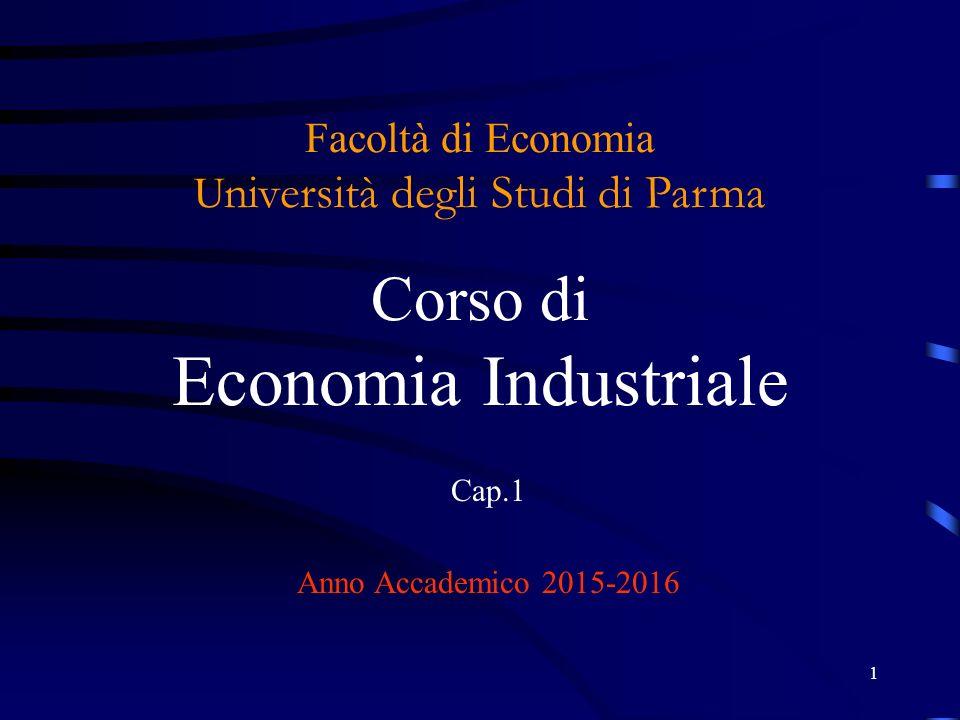 1 Facoltà di Economia U niversità degli Studi di Parma Corso di Economia Industriale Cap.1 Anno Accademico 2015-2016
