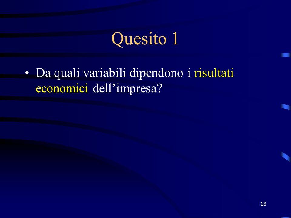 18 Quesito 1 Da quali variabili dipendono i risultati economici dell'impresa?
